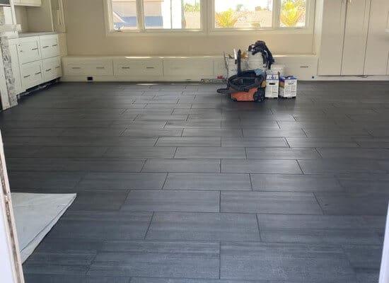 living room floor tile installation